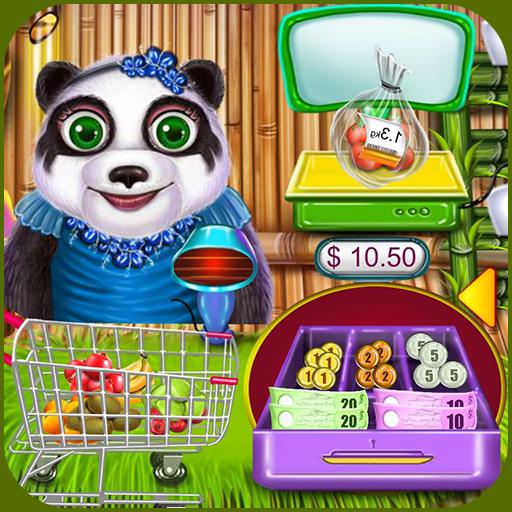 Supermarket Panda Family Shopping Game Icon