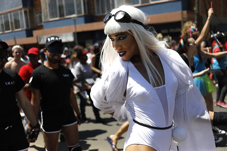 A reveller at the Johannesburg Pride Parade and Mardi Gras event at Melrose Arch, Johannesburg, on Saturday, October 27 2018.