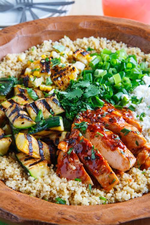"""Grilled BBQ Chicken, Zucchini and Corn Quinoa Salad """"Today I have another..."""