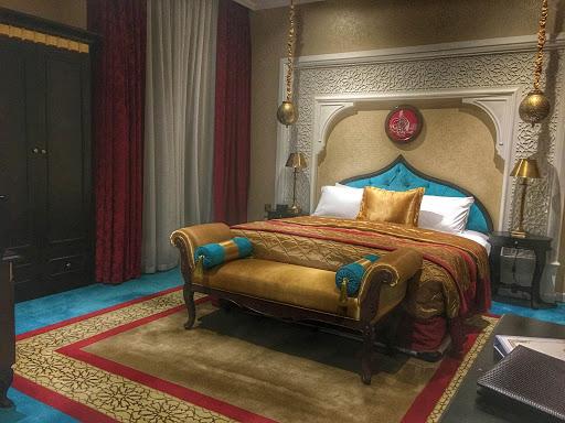 A look at an opulent bedroom at Saraya Corniche Hotel in Doha, Qatar.