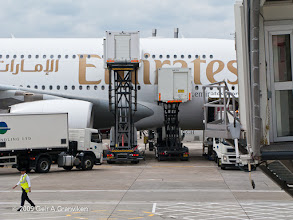 Photo: Ground handling of an Emirates Airbus A380 at London Heathrow airport
