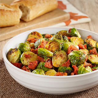 Oven Roasted Brussels Sprouts with Tomatoes.