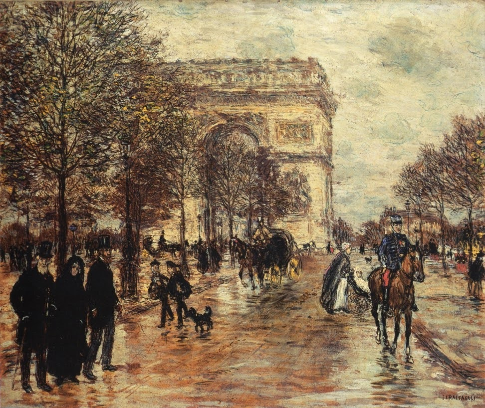 The Champs-Elysees, The Arc de Triomphe by Jean-François Raffaëlli.