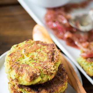 Zucchini-Chickpea Fritters with Red Onion Jam.