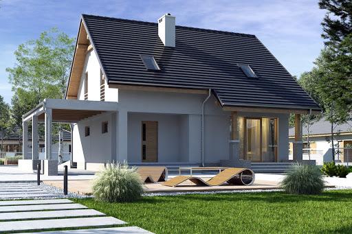 projekt Biała z garażem i wiatą A1