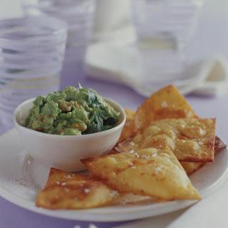 Creamy Guacamole with Tortilla Chips.