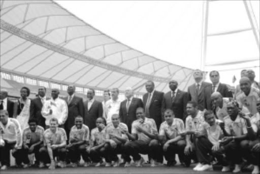 RARING TO GO: Bafana players with Fifa and Safa officials during the 100 days to kickoff countdown celebrations in Durban. Pic: THULI DLAMINI. 02/03/2010. © Sowetan.