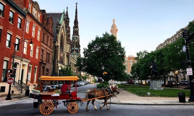 horse-drawn cart in Historic Baltimore