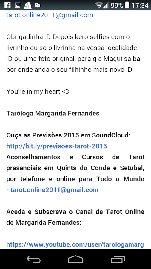 Taróloga Margarida Fernandes- screenshot