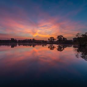 City park sunrise by Matt Hollamon - City,  Street & Park  City Parks ( waning crescent, reflection, holmes lake park, autumn, sunrise, nikon d500 )