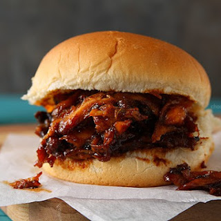 Slow Cooker Maple BBQ Pulled Chicken Sandwiches.