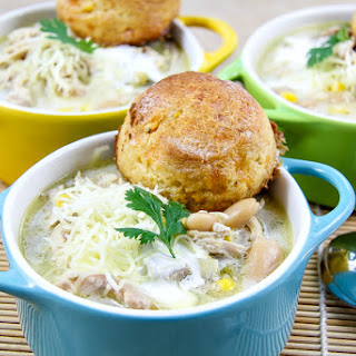 Slow Cooker Chicken Chili With Fire Roasted Cornbread Biscuits.