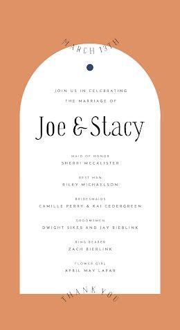 Joe & Stacy - Wedding Program item