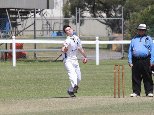 Narrabri's Jake Brayshaw bowls against Gunnedah on Sunday.