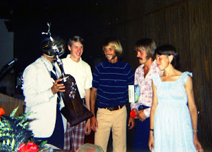 Photo: Charleston Distance Run 1973, meet director Don Cohen (behind trophy), Dave Wottle, Jeff Galloway, Steve Prefontaine, Jacqueline Hansen