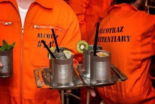 Patrons at London's Alcotraz have to don prison uniforms and smuggle in their own booze.