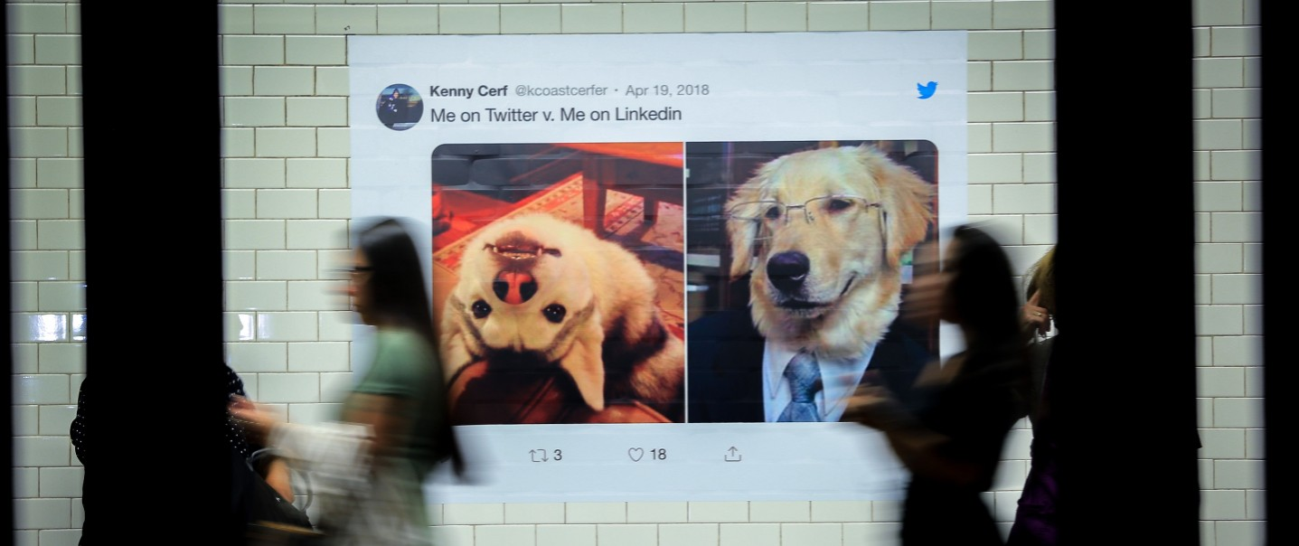 """Twitter campaign billboard, says """"Me on Twitter v. Me in LinkedIn"""" and two photos of dogs, on theft is silly and on the right is wearing a suit and glasses"""