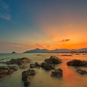 Sunset view of waterscape - Shenzhen by Stanley Loong - Landscapes Waterscapes ( mountains, sky, waterscape, sunset, seaside, yellow, rocks, slow shutter,  )