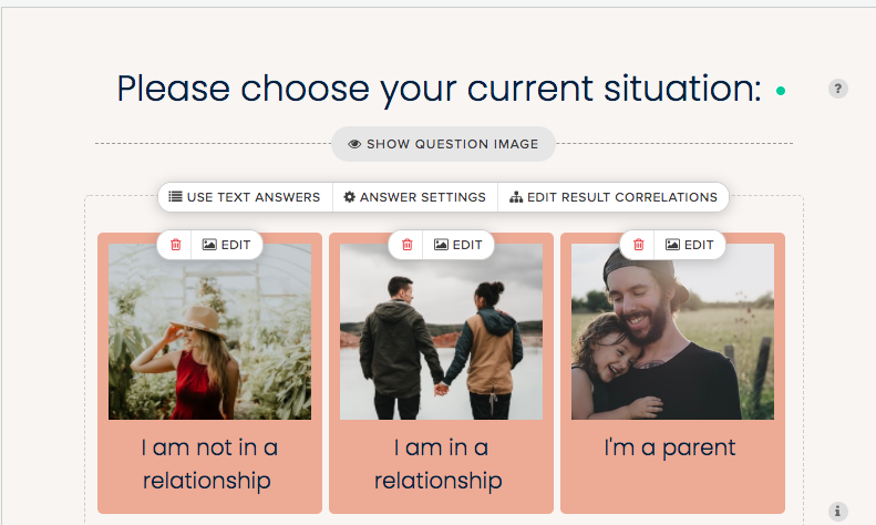 question asking about current relationship status