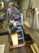Photo: Jim running the Meranti wood blanks through the Planer.