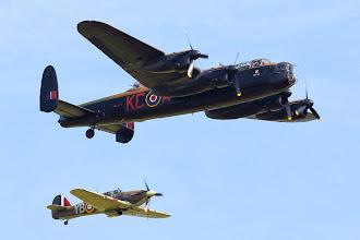 Photo: Avro Lancaster B1 + Hawker Hurricane Mk2C