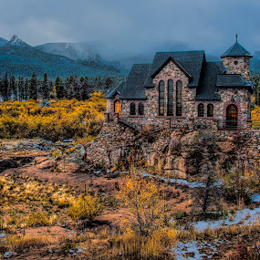 Church on the Rock by Kimberly Sheppard - Landscapes Mountains & Hills ( clouds, mountains, church, autumn, landscape )