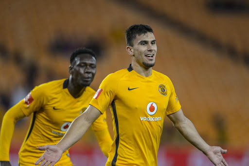 Lorenzo Gordinho of Kaizer Chiefs is joined by teammate to celebrate his goal during the Absa Premiership match between Kaizer Chiefs and Maritzburg United at FNB Stadium on September 24, 2016 in Johannesburg, South Africa.