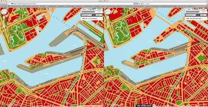 Photo: [2011 ©-project Mapping History van Museum Rotterdam en Maps+Motion] - http://www.museumrotterdam.nl en http://www.mapsplusmotion.com - click op laatstgenoemde site op 'Toon de kaarten' en stel de stad en de jaartallen in - op voorliggende foto staat de vergelijking tussen het Katendrecht van 1990 (met hier nog de havenspoorlijnen; maar de Tweede Katendrechtsehaven is al versmald) en 2000 - de bedoeling van Stichting Historisch Katendrecht is dat ook de andere voor Katendrecht belangrijke perioden zullen worden toegevoegd en zo mogelijk ook dat op perceelniveau informatie opgevraagd kan worden.