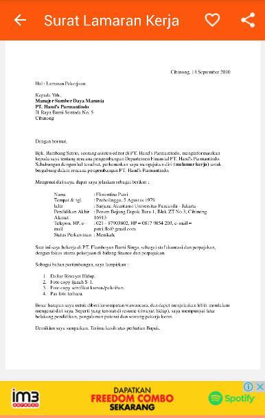 Surat Lamaran Kerja Yang Benar Android Aplikacje Appagg