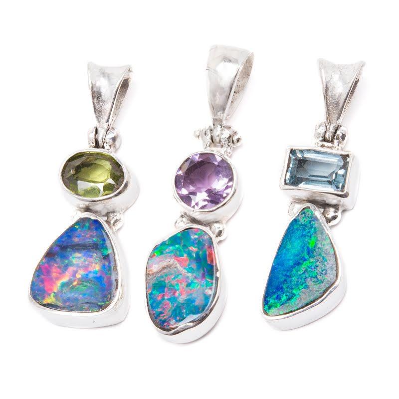 Opal, hänge med ametist, peridot eller topas