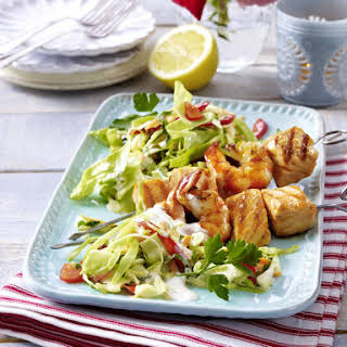 Grilled Seafood Skewers and Salad with Yogurt Dressing.
