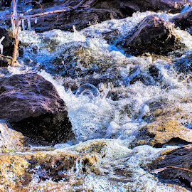 Bubbles in the falls by Bruce Newman - Nature Up Close Water ( close up, waterscape, winter, water, landscape,  )