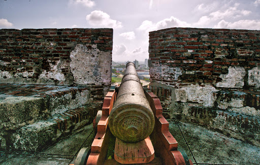 A cannon atop Castillo San Felipe de Barajas, a fortress built in 1657 in Cartagena, Colombia.