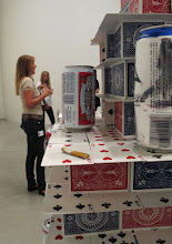 Photo: Yesterday (Large Card Tower), 2009, mixed media (udsnit med Aros-inspektør Birgit Pedersen i baggrunden)