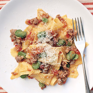 Fresh Pasta with Favas, Tomatoes, and Sausage.