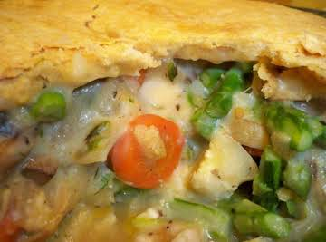 Chicken Pot Pie with Mushrooms and Asparagus