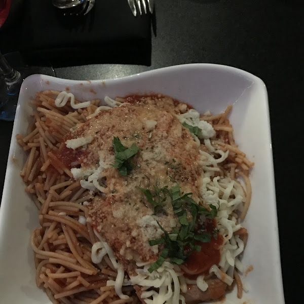 Main course- Deconstructed Chicken Parmigiana with GF pasta