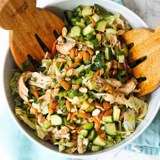 Low-Carb Asian Chopped Salad With Garlic-Ginger Chicken.