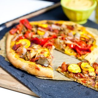 Roasted Ratatouille Pizza with Chickpea Cheese Sauce.