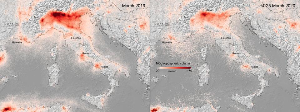 Concentraciones de dióxido de nitrógeno sobre Italia