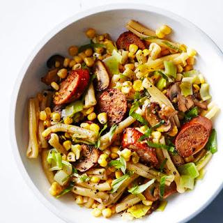 Pasta with Chicken Sausage, Corn, Leeks, and Mushrooms Recipe