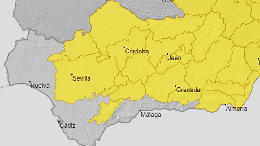 Mapa de avisos meteorológicos en Andalucía.