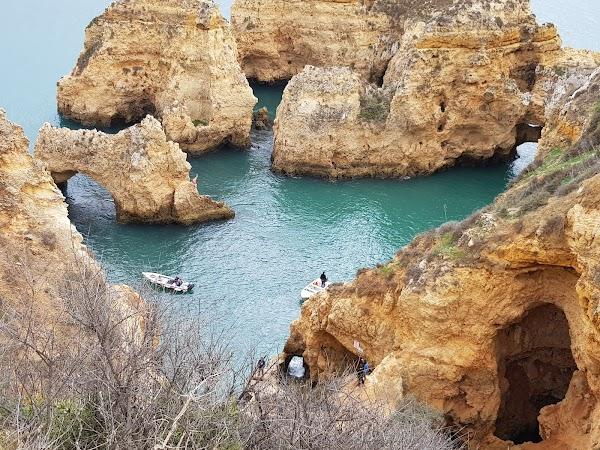 Popular tourist site Farol da Ponta da Piedade in Algarve