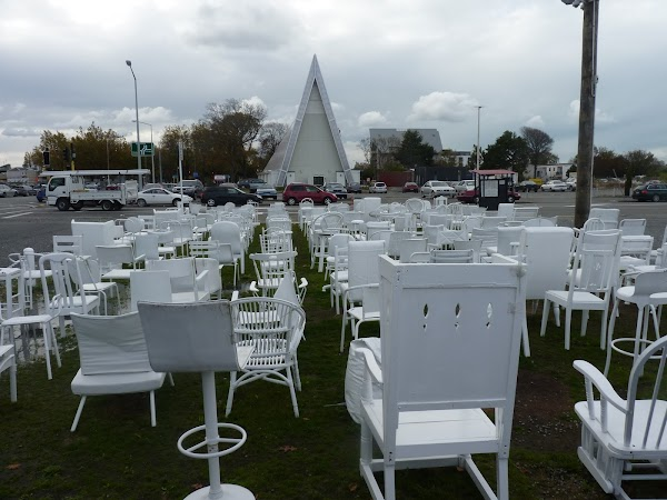 Popular tourist site 185 White Chairs in Christchurch