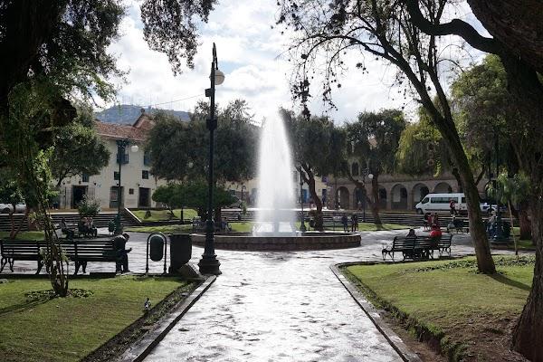 Popular tourist site Plaza Kusipata in Cusco