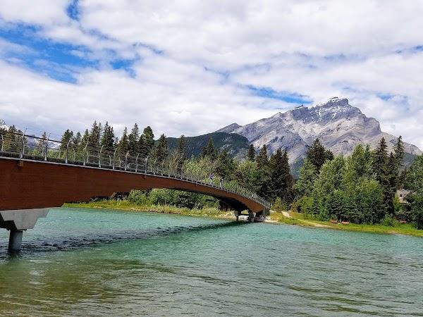 Popular tourist site Banff Pedestrian Bridge in Banff
