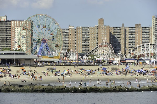 Popular tourist site Coney Island Beach & Boardwalk in Brooklyn