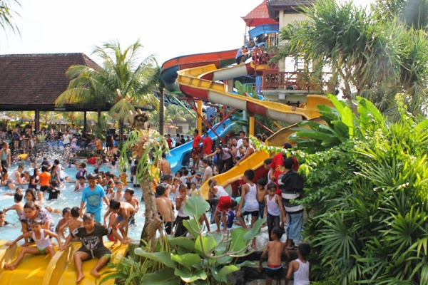 Popular tourist site Taman Segara Madu Water Park in Canggu