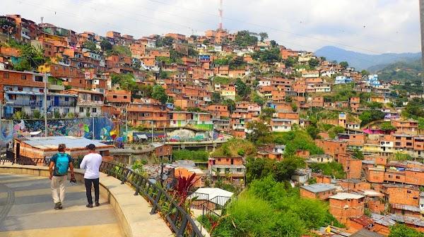 Popular tourist site Escalators Comuna 13 (Top End) in Medellin