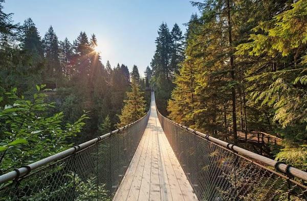 Popular tourist site Capilano Suspension Bridge in Vancouver